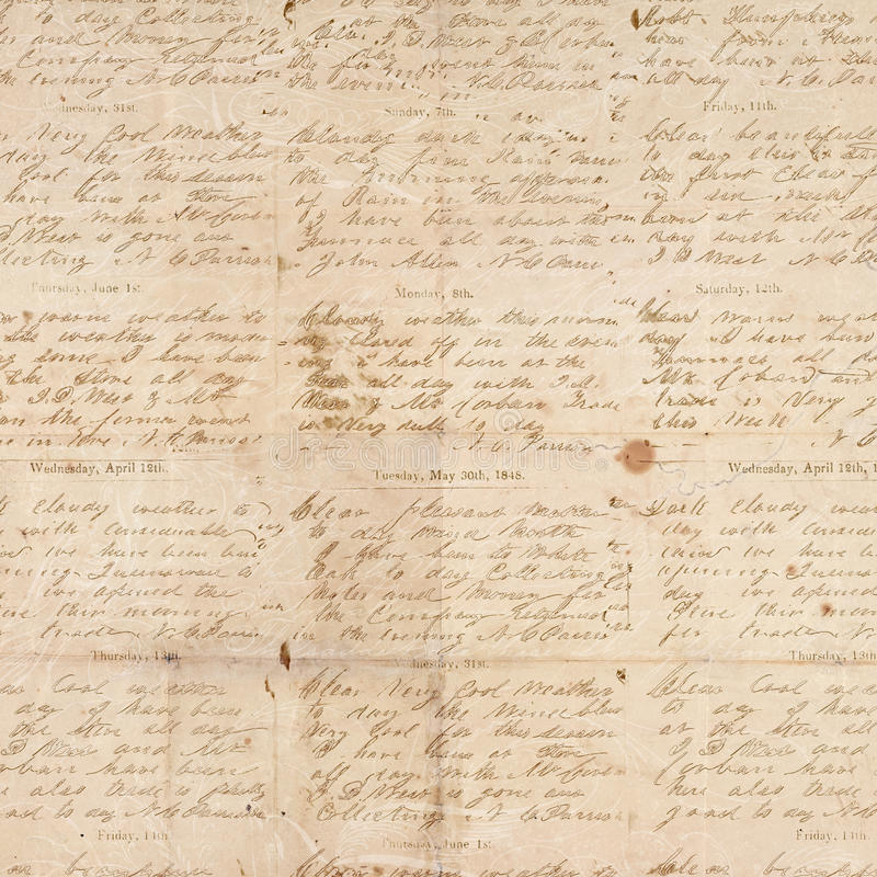 Free Antique Vintage Folded Textured Paper With Script Stock Photos - 22953423