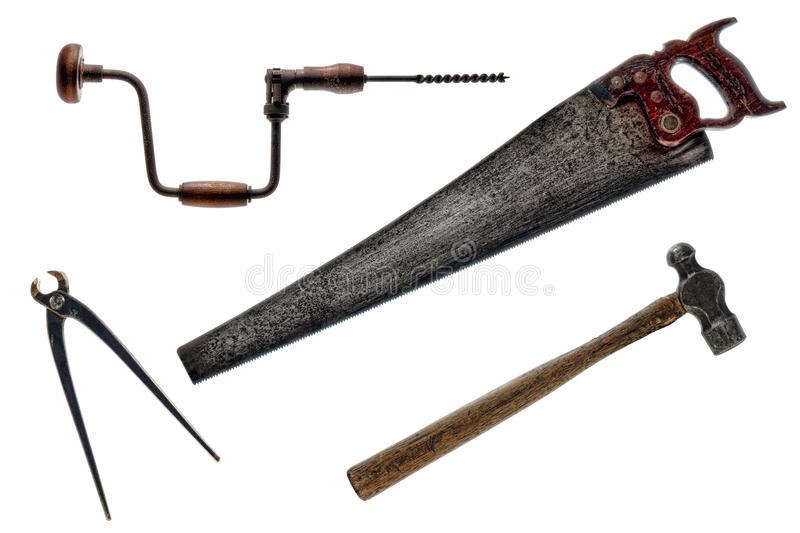 Antique Vintage Old Tools Collection Isolated royalty free stock images