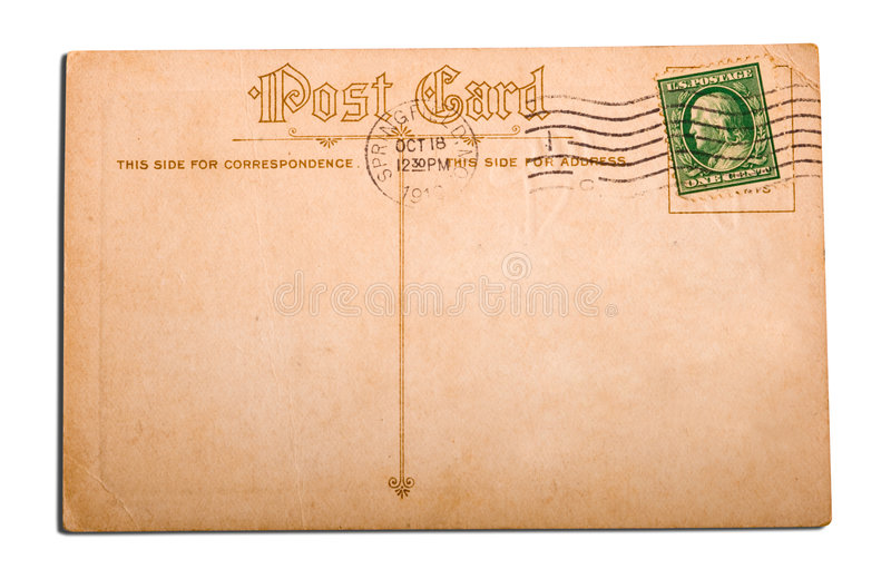 Antique, vintage postcard stock image