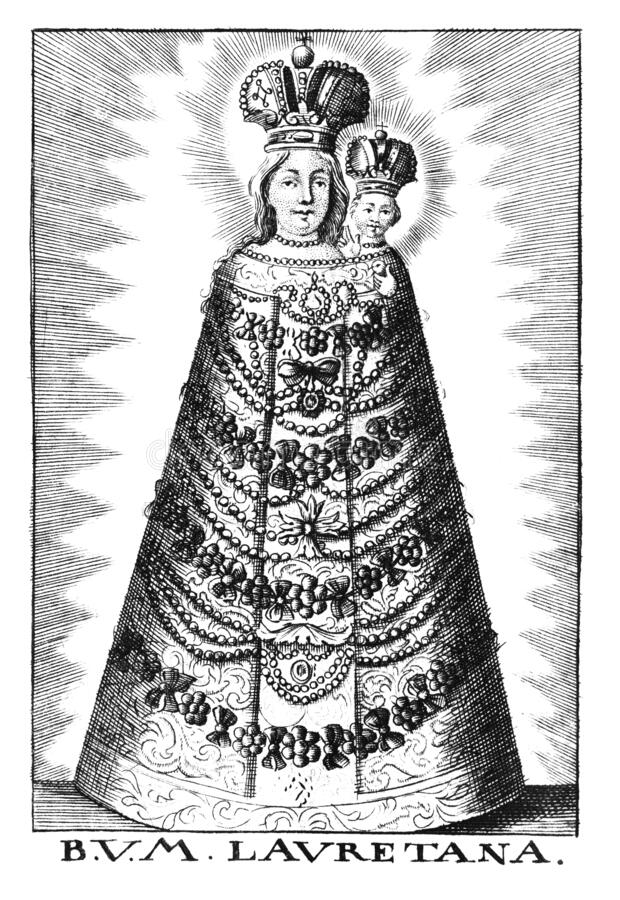 Vintage Antique Religious Allegorical Drawing or Engraving of Christian Virgin Mary of Loreto with Baby Jesus. royalty free stock photography