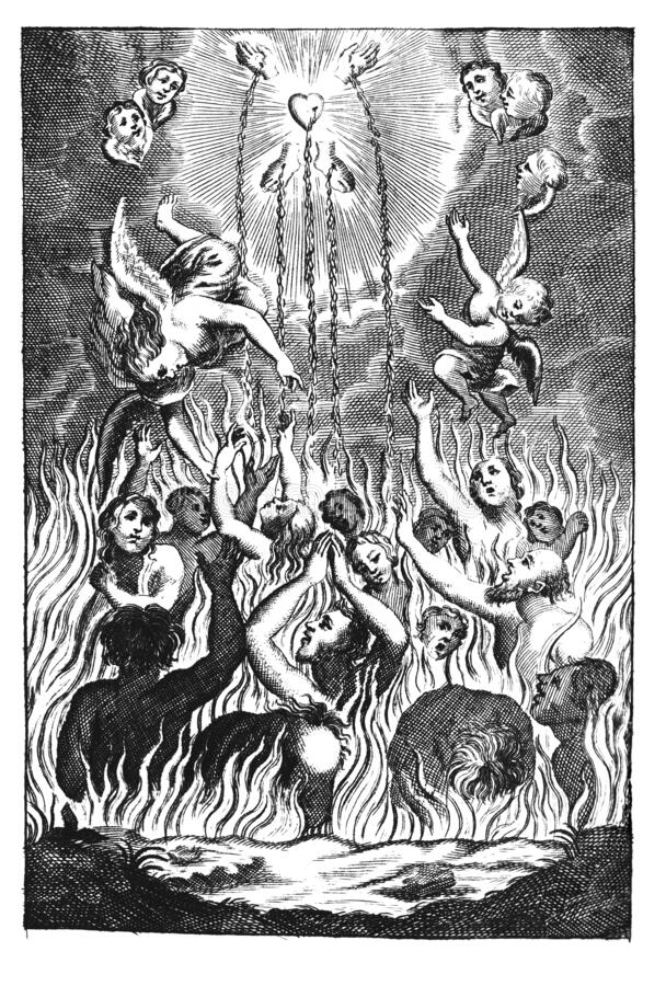 Vintage Antique Religious Allegorical Drawing or Engraving of People or Souls Suffering in Fire of Hell and Angels stock photo