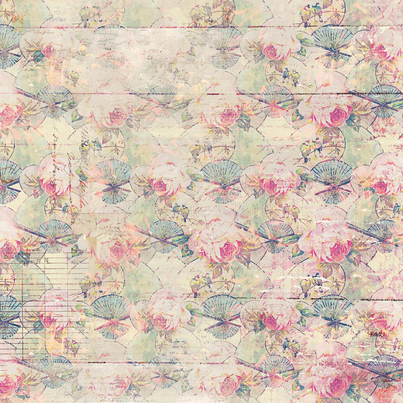 Antique vintage roses patterned background in pink and green spring colors stock illustration