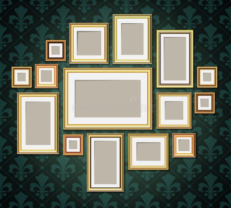 Antique vintage wooden photo frames collection. Retro portrait picture borders royalty free illustration