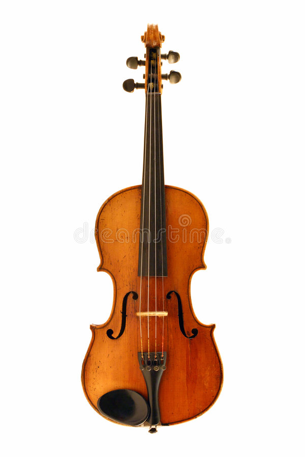 Antique violin isolated on white royalty free stock photography