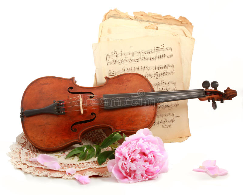 Download Antique Violin, Notes  And Peon Royalty Free Stock Photography - Image: 25046487