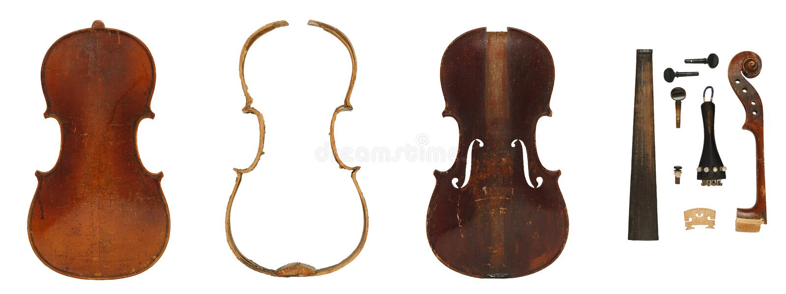 Antique violin parts full set royalty free stock image