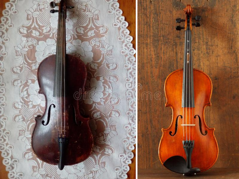 Antique violin before and after restoration royalty free stock photos