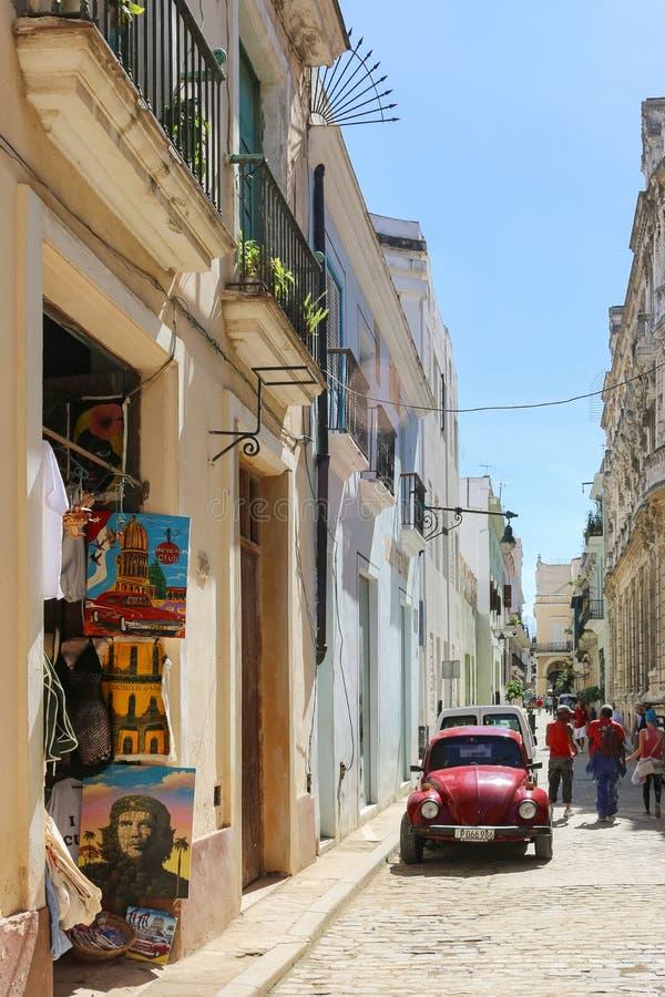 Antique Volkswagen Beetle on the street, Cuba, Havana stock photos