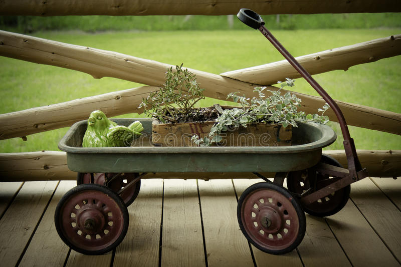 Antique Wagon Flower Display royalty free stock photo