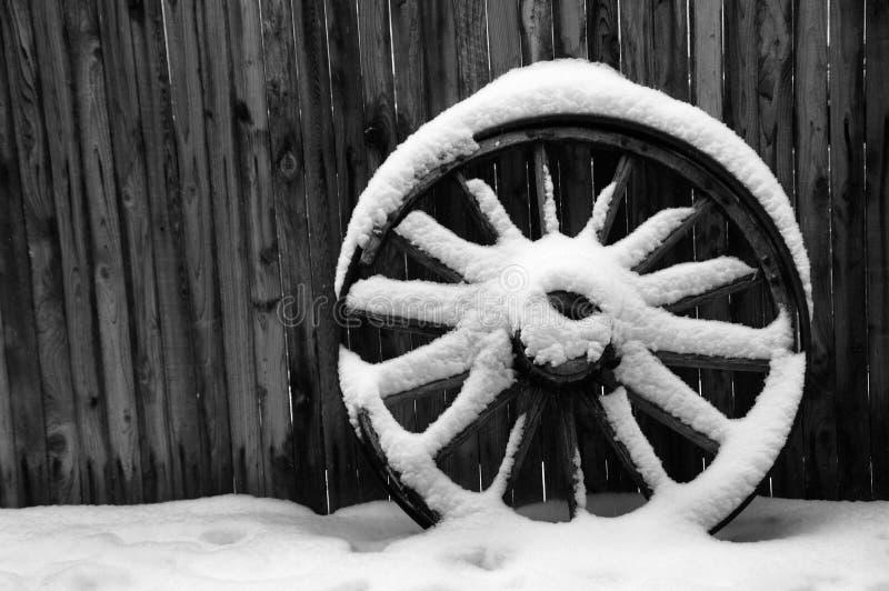 Antique Wagon Wheel with Snow royalty free stock photos