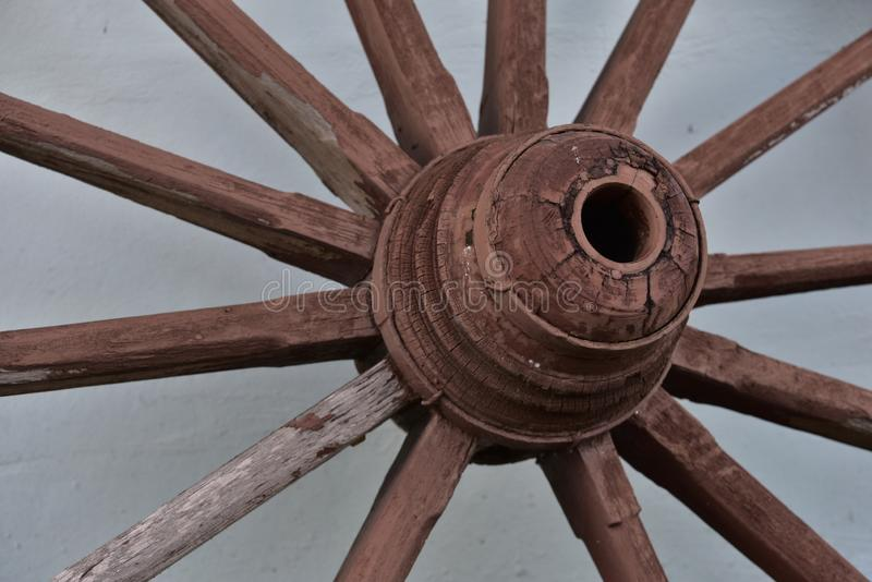 Antique wagon wheels made of wood royalty free stock photography