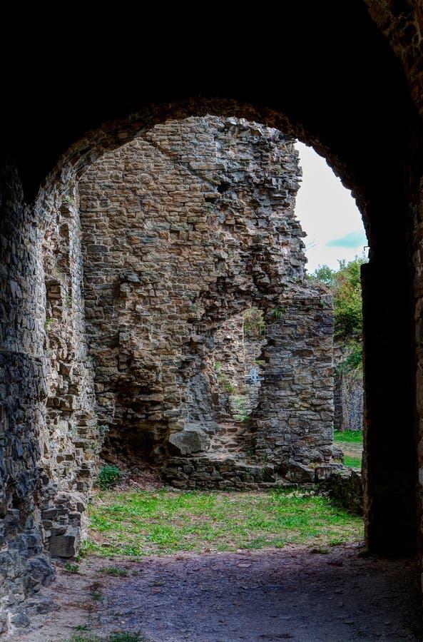 Ruins door frame medieval castle Franchimont, Theux, Liege, Belgium stock image