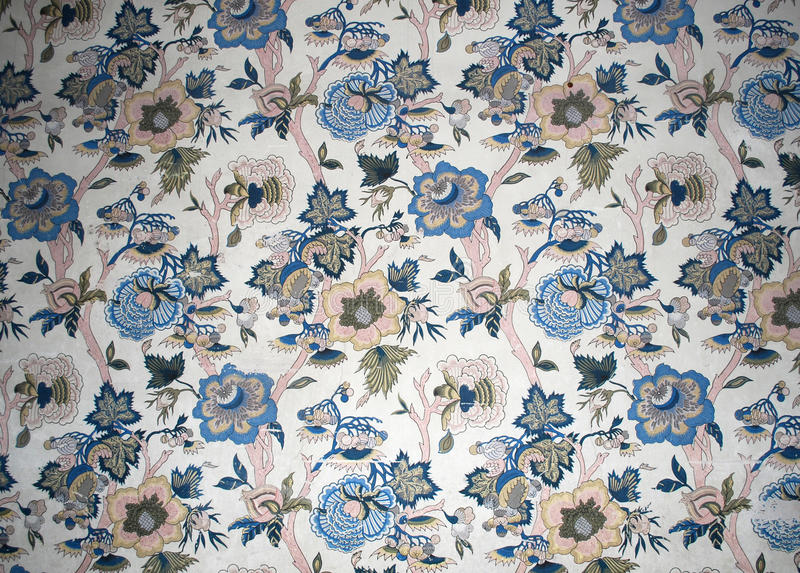Antique wallpaper. Original English wallpaper from the 19th century with flower design royalty free stock photos