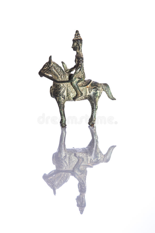 Antique Warrior on Horse back figurine royalty free stock photos