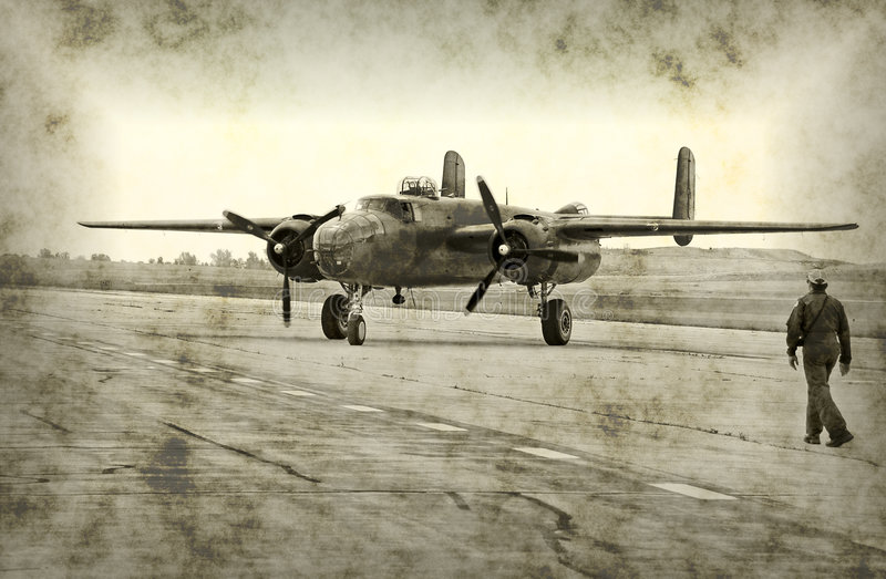 Antique wartime airplane. Faded photo of bomber and pilot (rendering royalty free illustration
