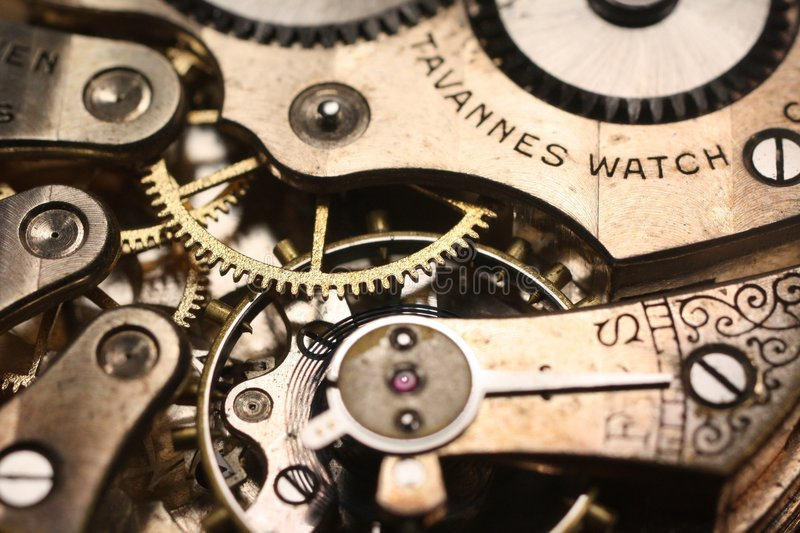 Antique Watch. Close-up photo of an antique watch showing its gears and parts stock image
