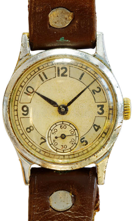 Antique watch. Old dirty antique watch on a white background stock photography