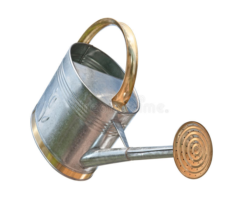 Antique Watering Can (with clipping path). Antique Watering Can with a clipping path isolated on white. Full focus front & back. Isolation is on a transparent royalty free stock photo