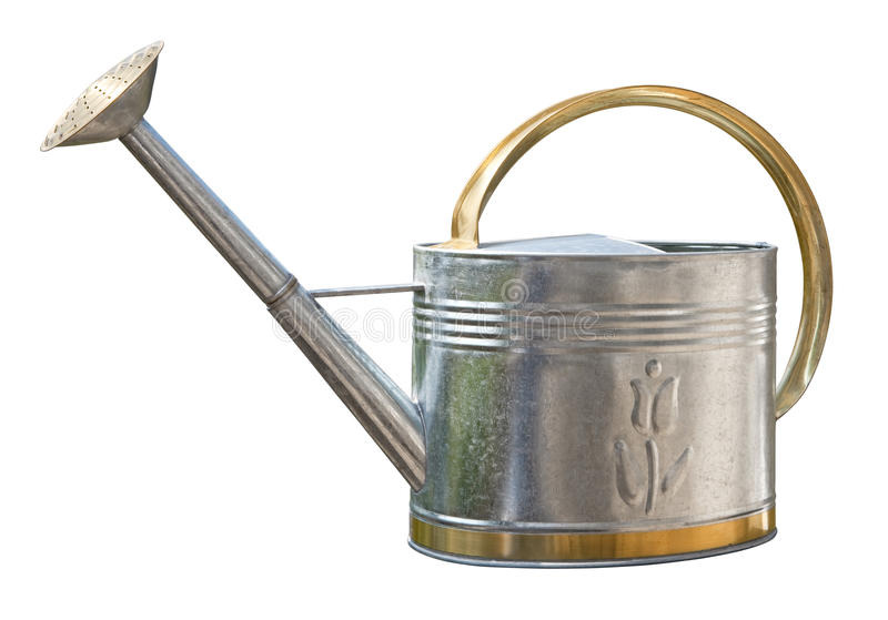 Antique Watering Can (with clipping path). Antique Watering Can with a clipping path isolated on white. Full focus front & back. Isolation is on a transparent royalty free stock photos