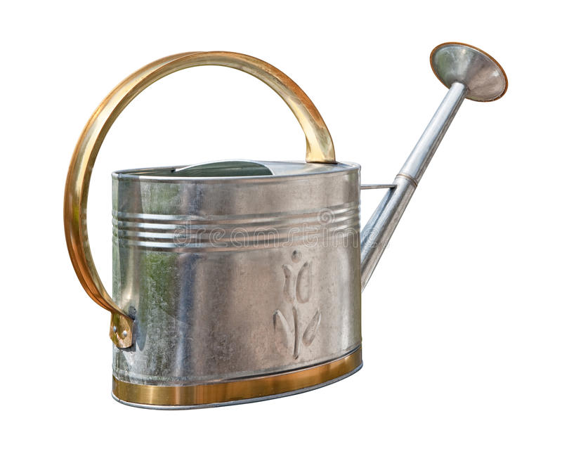 Antique Watering Can (with clipping path). Antique Watering Can with a clipping path isolated on white. Full focus front & back. Isolation is on a transparent stock images