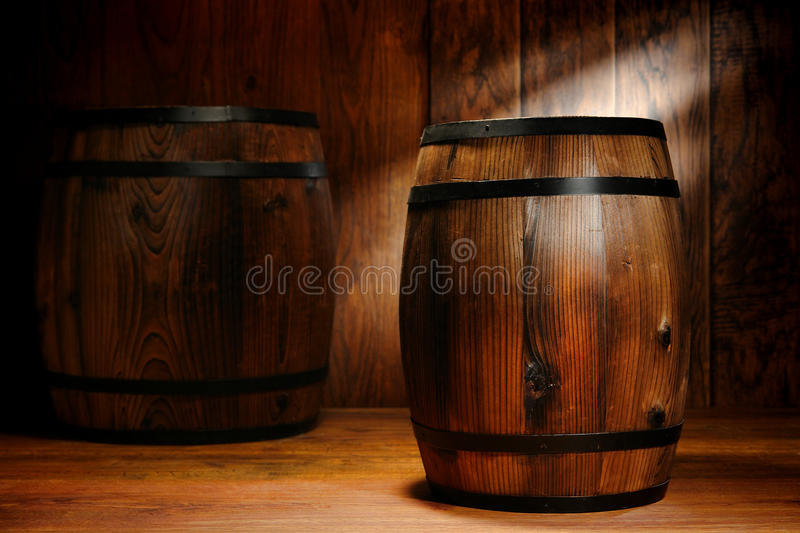 Antique Whisky Wood Barrel and Old Wine Cask stock photos
