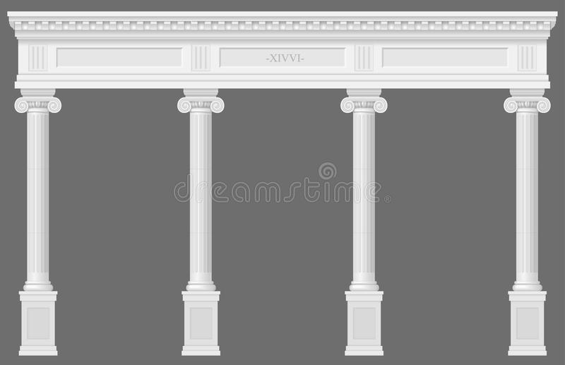 Antique white colonnade. With Ionic columns. Three arched entrance or niche. Vector graphics stock illustration
