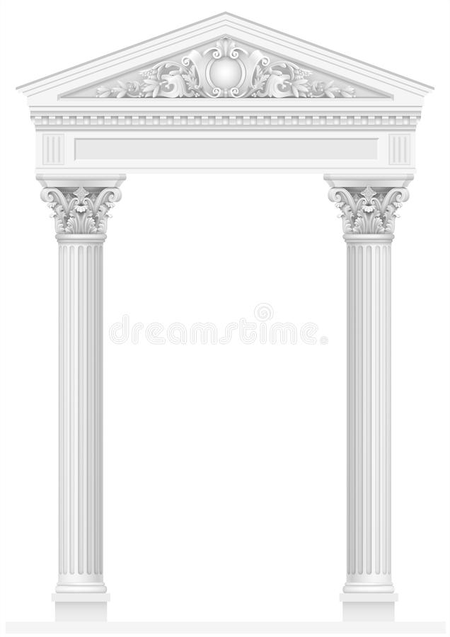 Antique white colonnade with old Ionic columns. Antique white colonnade with Ionic columns. Three arched entrance or niche. Vector graphics stock illustration