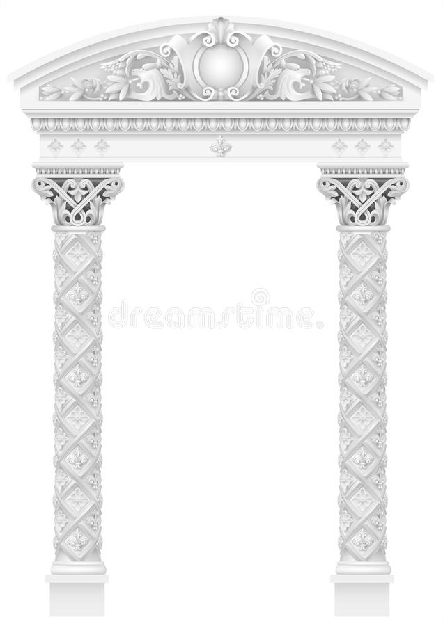 Antique white colonnade with old Ionic columns. Antique white colonnade with Ionic columns. Three arched entrance or niche. Vector graphics vector illustration