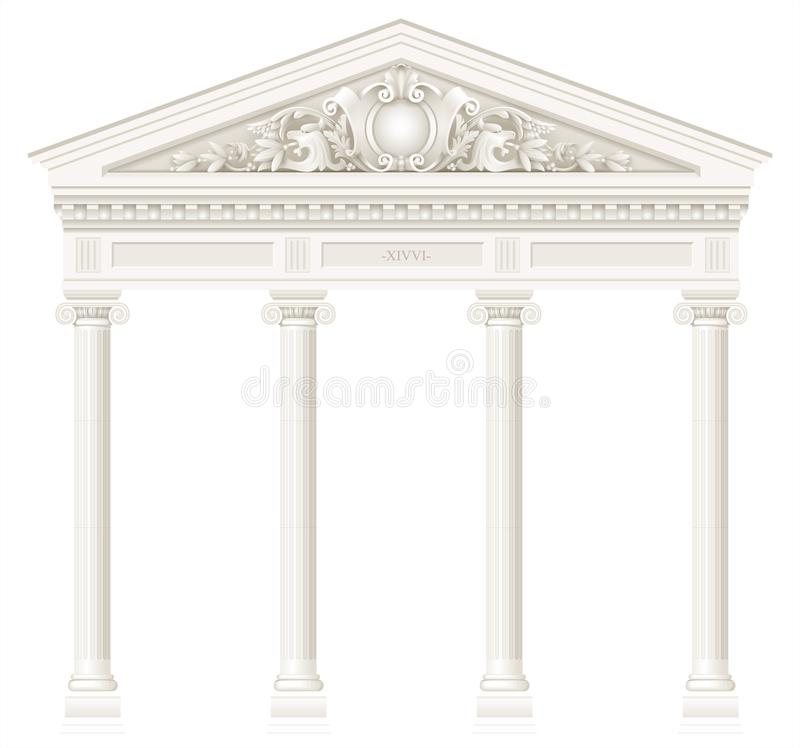 Antique white colonnade with old Ionic columns. Antique white colonnade with Ionic columns. Three arched entrance or niche. Vector graphics royalty free illustration