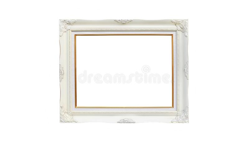 Antique white photo frame with empty space for your picture or text isolated on white background royalty free stock photography