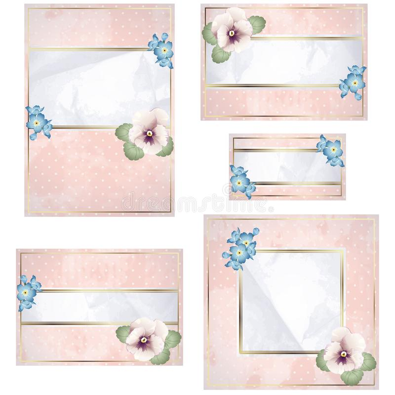 Antique white and pink wedding banner with flowers stock illustration