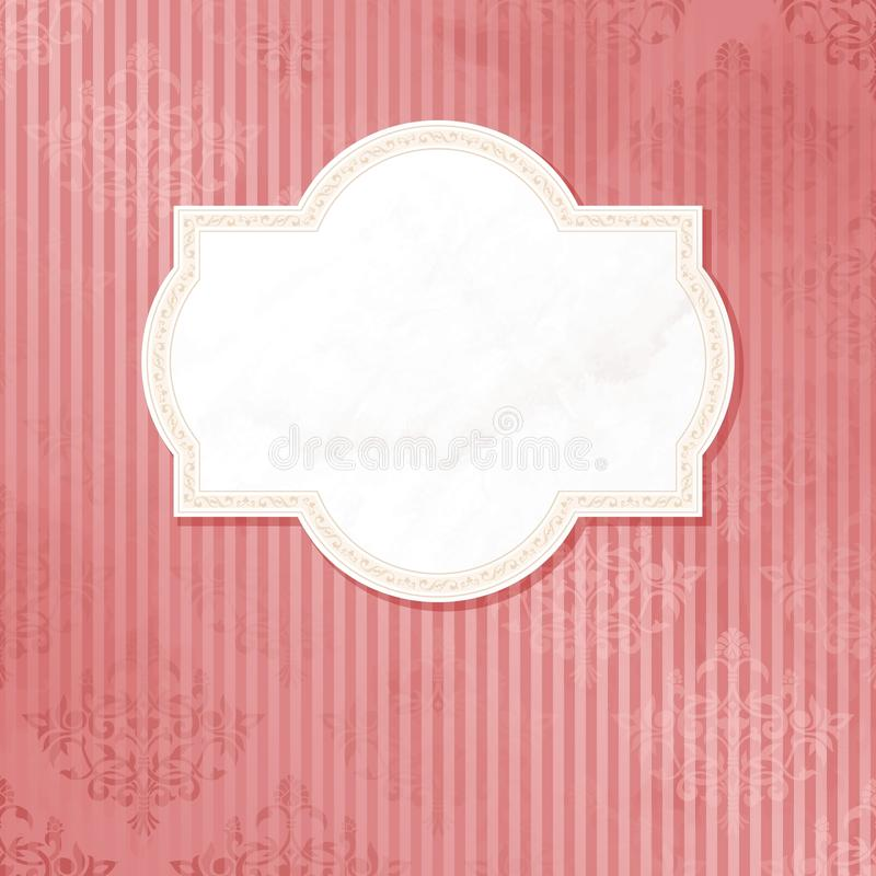 Antique white on pink wedding label stock illustration