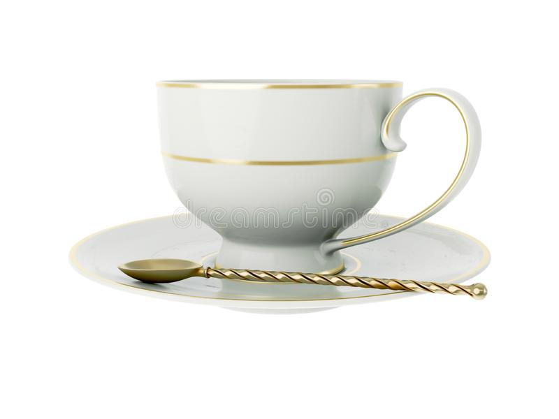 Antique white porcelain cup with gold, gold tea spoon on white. 3D Illustration. Isolated empty elegant antique porcelain white tea cup on saucer with gold stock illustration