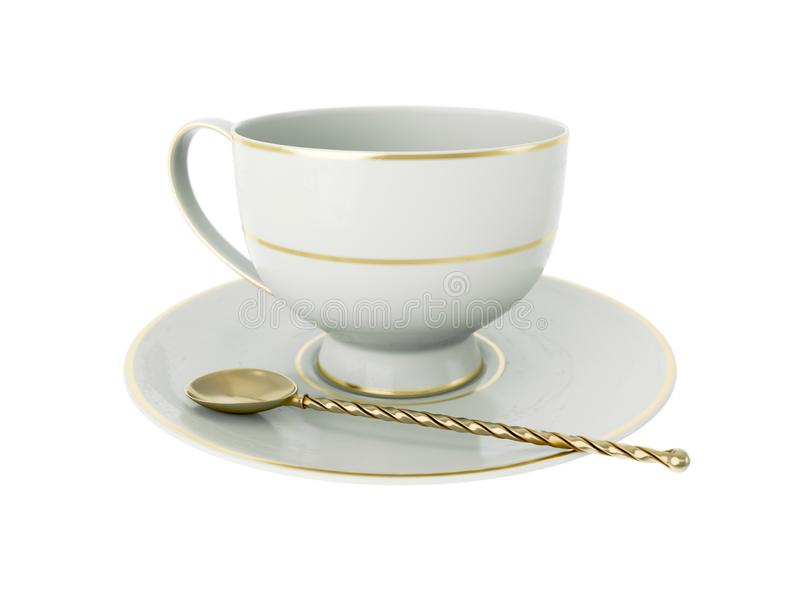 Antique white porcelain cup with gold, gold tea spoon on white. 3D Illustration. Isolated empty elegant antique porcelain white tea cup on saucer with gold vector illustration