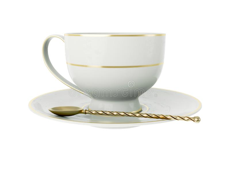 Antique white porcelain cup with gold, gold tea spoon on white. 3D Illustration. Isolated empty elegant antique porcelain white tea cup on saucer with gold royalty free illustration