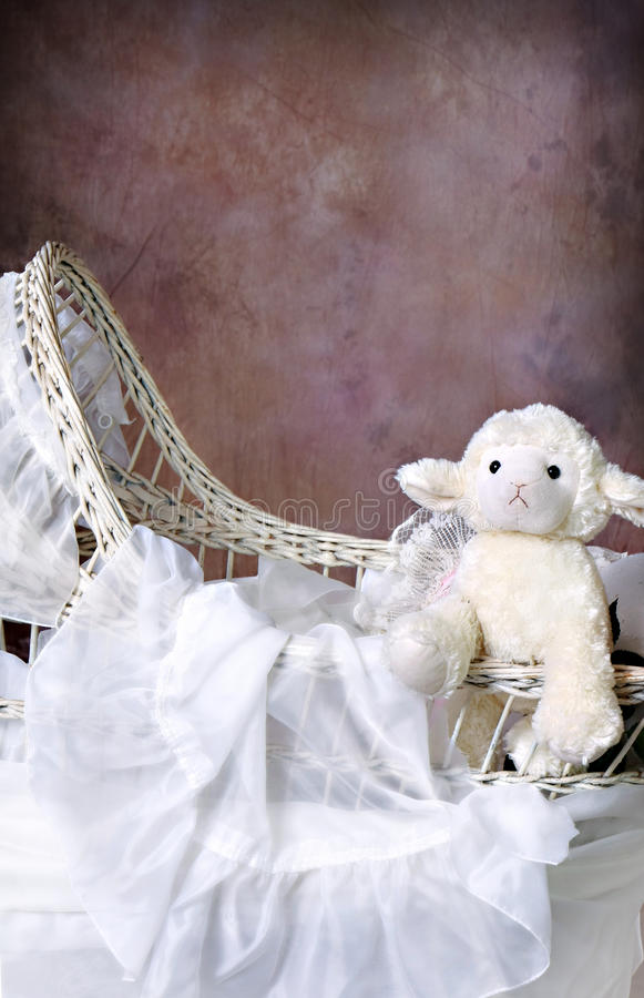Antique Wicker Baby Bassinet. Antique Wicker Bassinet Photography Digital Prop adorned with flowers. can be edited as to place an image of a child within. Cute royalty free stock images
