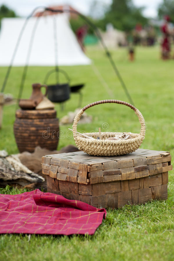 Download Antique Wicker Basket And Chest Stock Photo - Image: 25226206