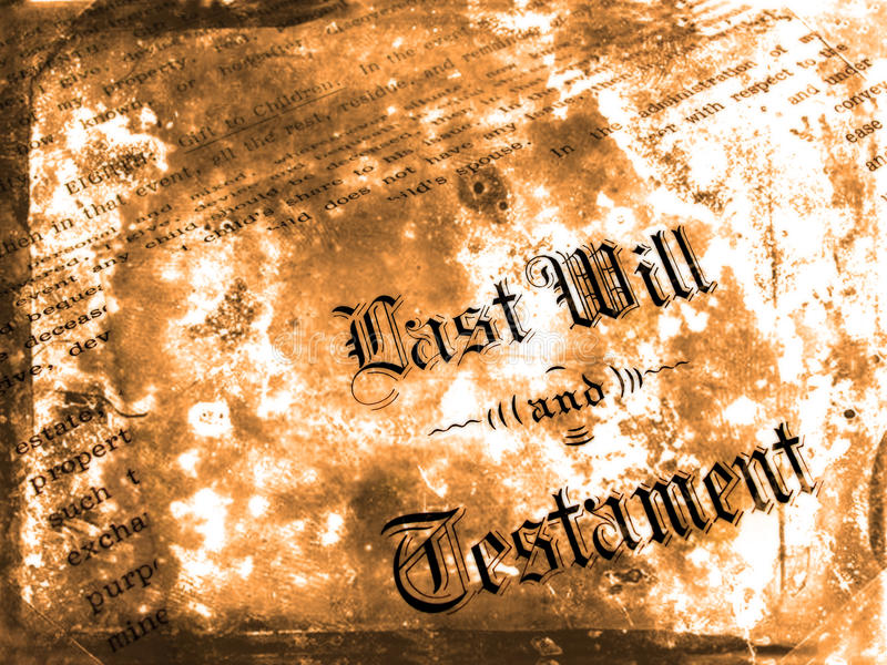 Antique Will. Antique old last will and testament on parchment paper royalty free stock photos