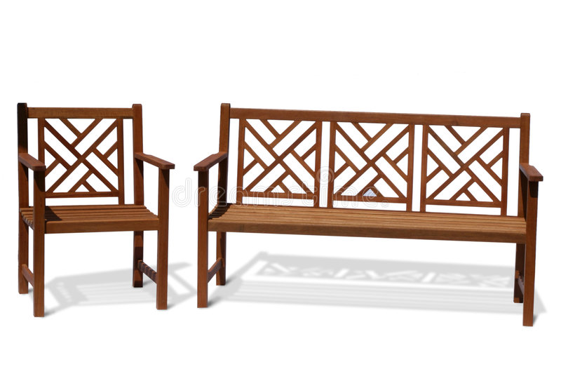 Antique wood bench. Isolated wood park bench on white background royalty free stock photo