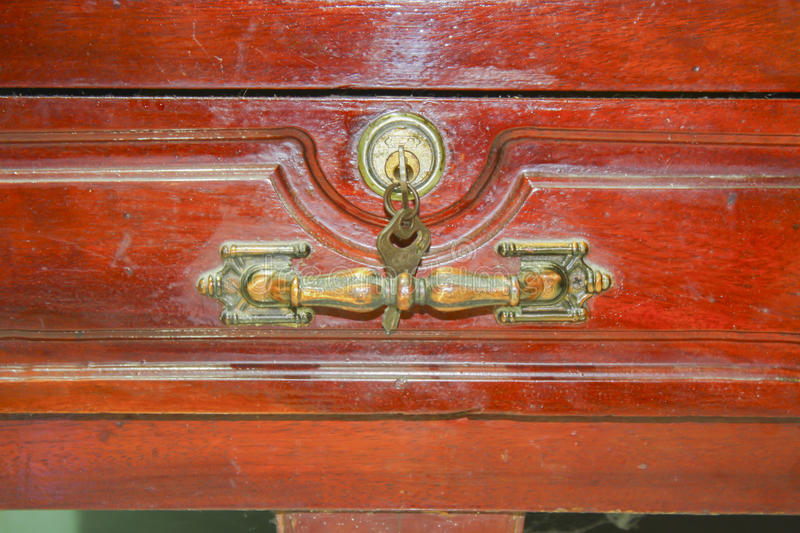 Antique wood drawer with keys. Home royalty free stock photography