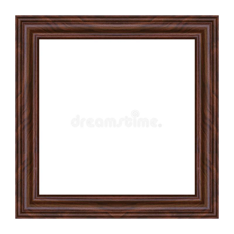 Antique wood picture frame isolated on white stock images