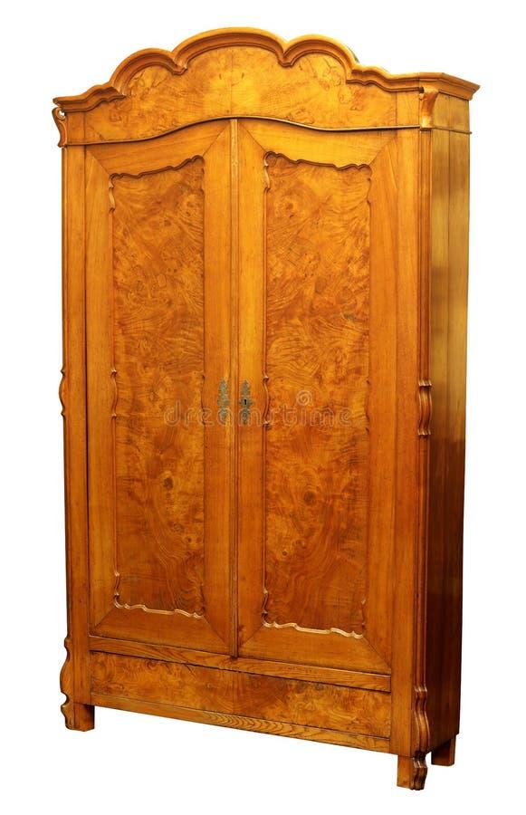 Antique wood wardrobe isolated on white royalty free stock photo