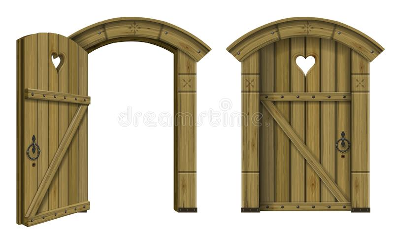 Antique wooden arched door fantasy. Ancient wooden arched door fantasy scandinavian gothic. Vector graphics. The ancient hut. Texture stock illustration