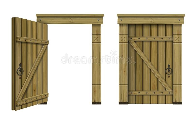 Antique wooden arched door fantasy. Ancient wooden arched door fantasy scandinavian gothic. Vector graphics. The ancient hut. Texture royalty free illustration