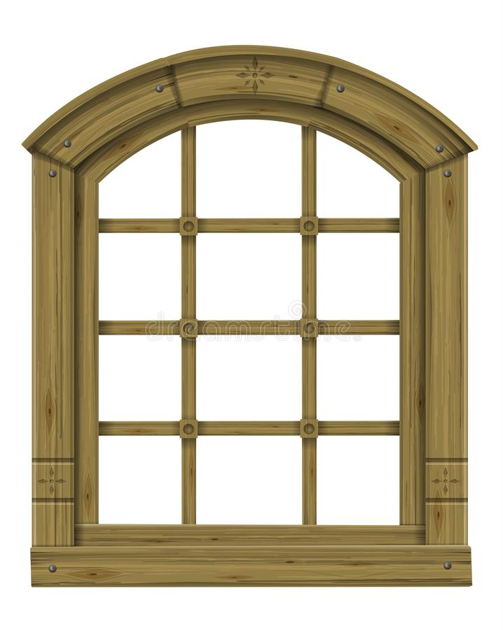Antique wooden arched window fantasy scandinavian gothic. Ancient wooden arched window fantasy scandinavian gothic. Vector graphics. The ancient hut. Texture royalty free illustration