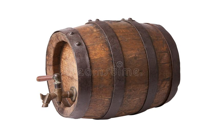 Antique wooden barrel. Vine cask. Isolated on white background. Winery manufacturing stock photography