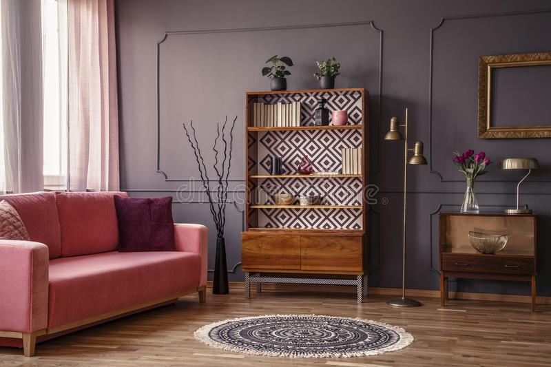 Antique wooden bookcase with decorations in an elegant gray living room interior with a comfortable powder pink sofa stock image