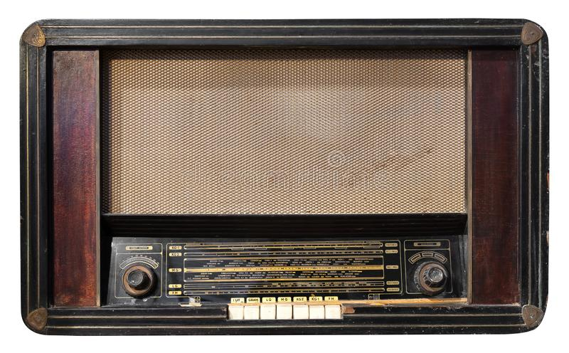 Antique wooden box radio isolate on white with clipping path for object stock images
