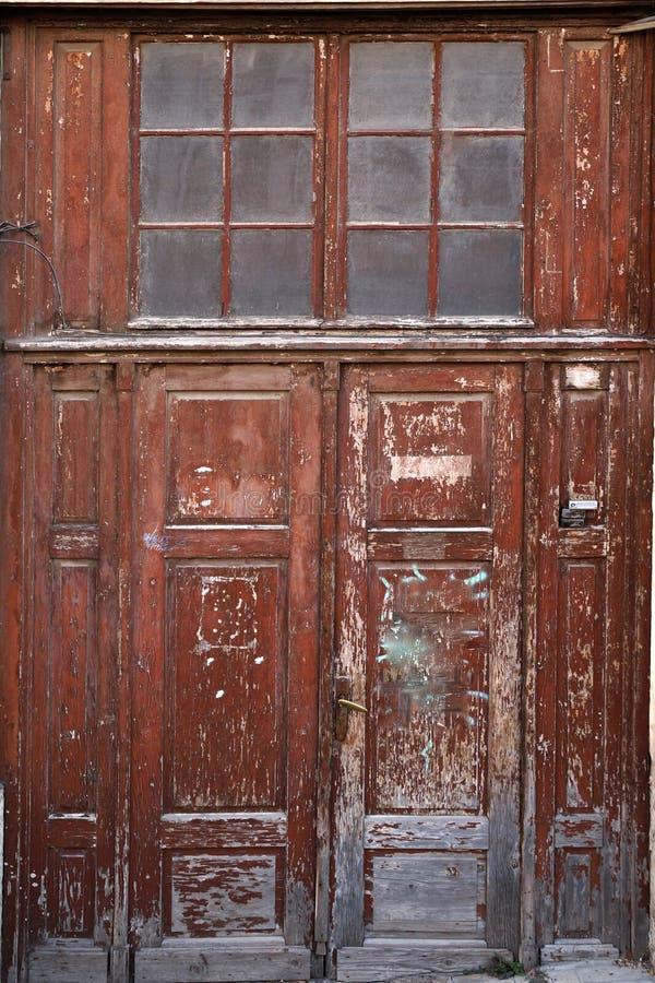 Antique wooden brown door stock photo