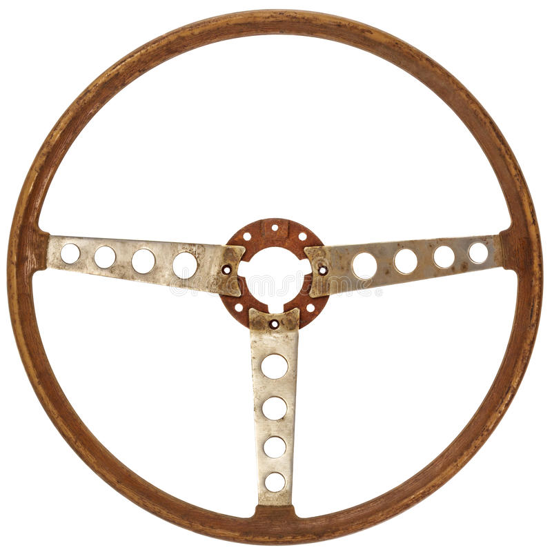 Antique wooden car steering wheel isolated on white royalty free stock image